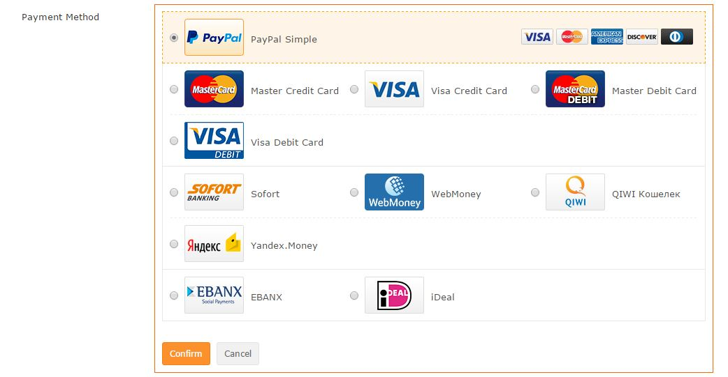 TinyDeal Payment Methods